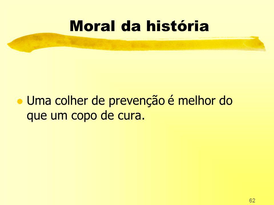 62 Moral da história l Uma colher de prevenção é melhor do que um copo de cura.