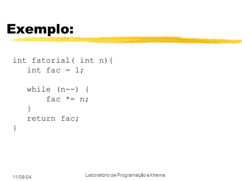11/08/04 Laboratório de Programação eXtrema Utilizar códigos de erro zChecar os códigos de erro de funções e métodos; yvocê sabia que o scanf retorna
