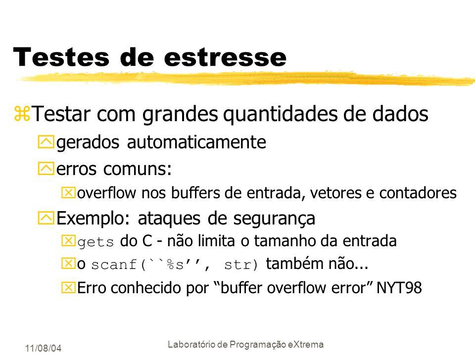 11/08/04 Laboratório de Programação eXtrema Arcabouço de testes /* memset: set the first n bytes of s to the byte c */ void *memset(void *s, int c, si