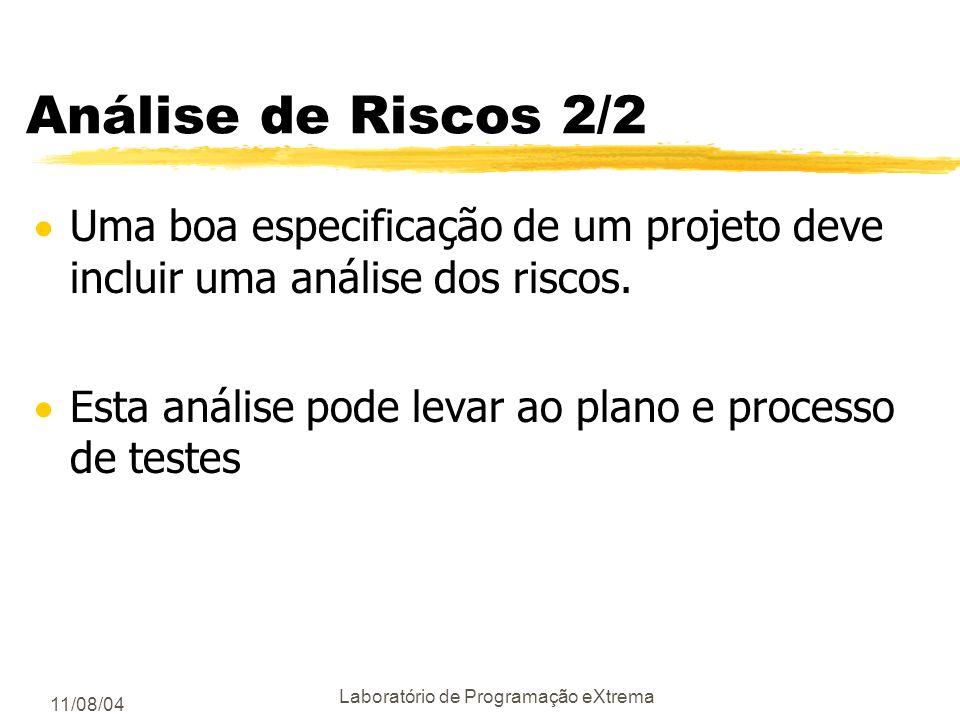 11/08/04 Laboratório de Programação eXtrema Análise de Riscos 1/2 Análise de Riscos ajuda a planejar quais testes devem ser feitos Um risco - ameaça a