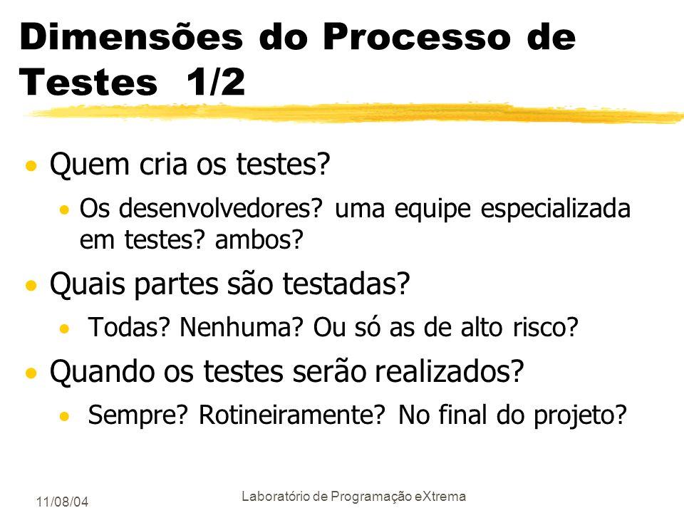 11/08/04 Laboratório de Programação eXtrema Análise de Riscos 2/2 Uma boa especificação de um projeto deve incluir uma análise dos riscos. Esta anális