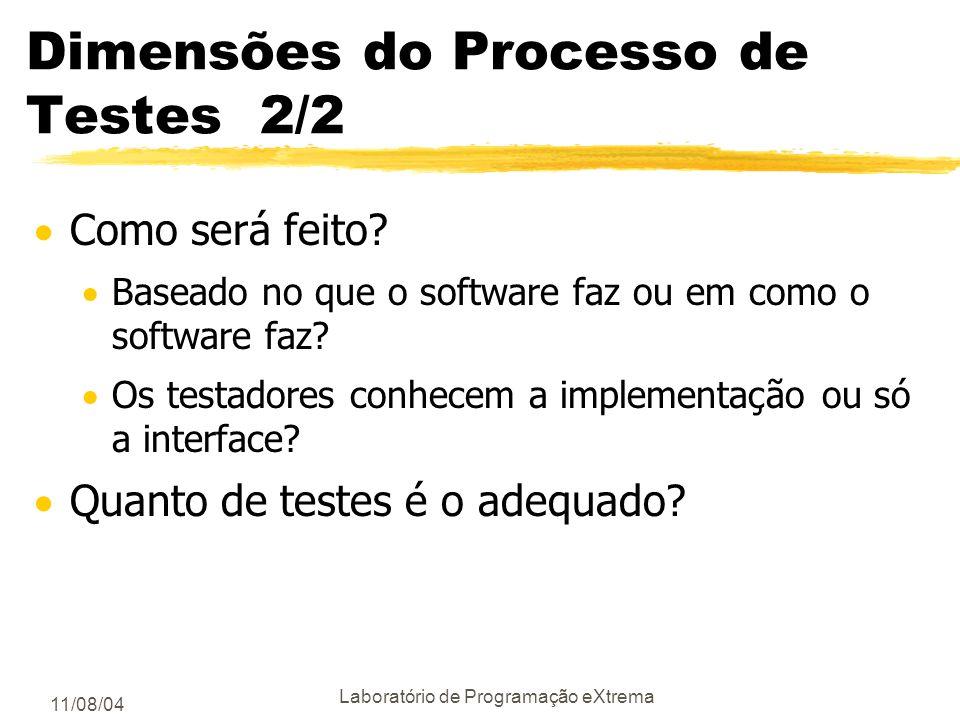 11/08/04 Laboratório de Programação eXtrema Dimensões do Processo de Testes 1/2 Quem cria os testes? Os desenvolvedores? uma equipe especializada em t