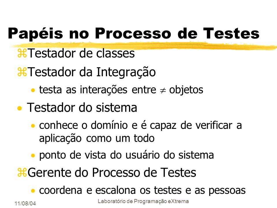 11/08/04 Laboratório de Programação eXtrema Dimensões do Processo de Testes 2/2 Como será feito? Baseado no que o software faz ou em como o software f