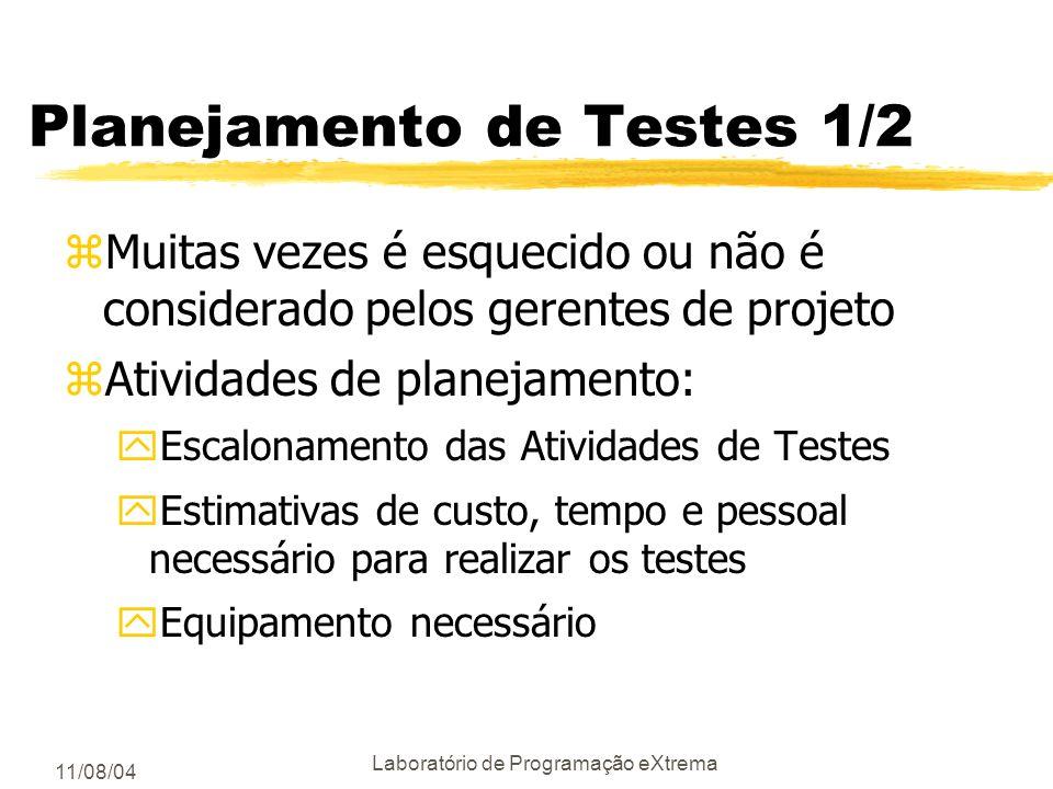 11/08/04 Laboratório de Programação eXtrema Papéis no Processo de Testes zTestador de classes zTestador da Integração testa as interações entre objeto