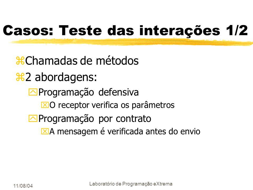 11/08/04 Laboratório de Programação eXtrema Testes das Interações zObjetos podem interagir de 4 formas diferentes: yum objeto é passado como parâmetro