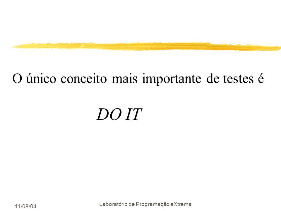 11/08/04 Laboratório de Programação eXtrema Lembre-se zPor que não escrever testes ? yestou com pressa zQuanto maior a pressão ymenos testes zCom meno