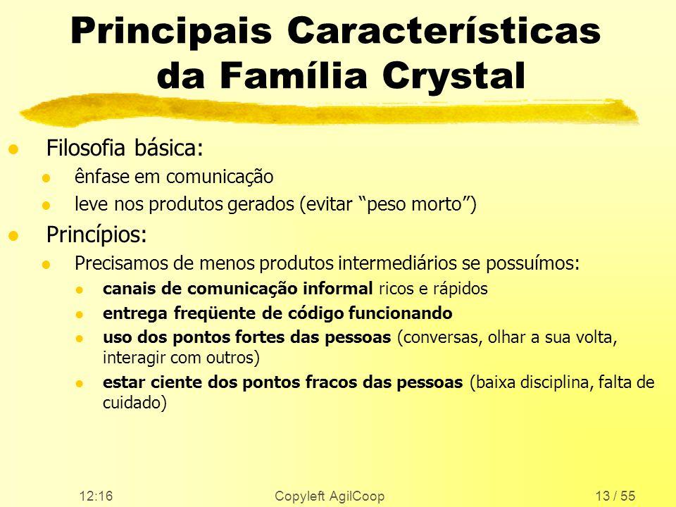 12:17 Copyleft AgilCoop13 / 55 Principais Características da Família Crystal l Filosofia básica: l ênfase em comunicação l leve nos produtos gerados (