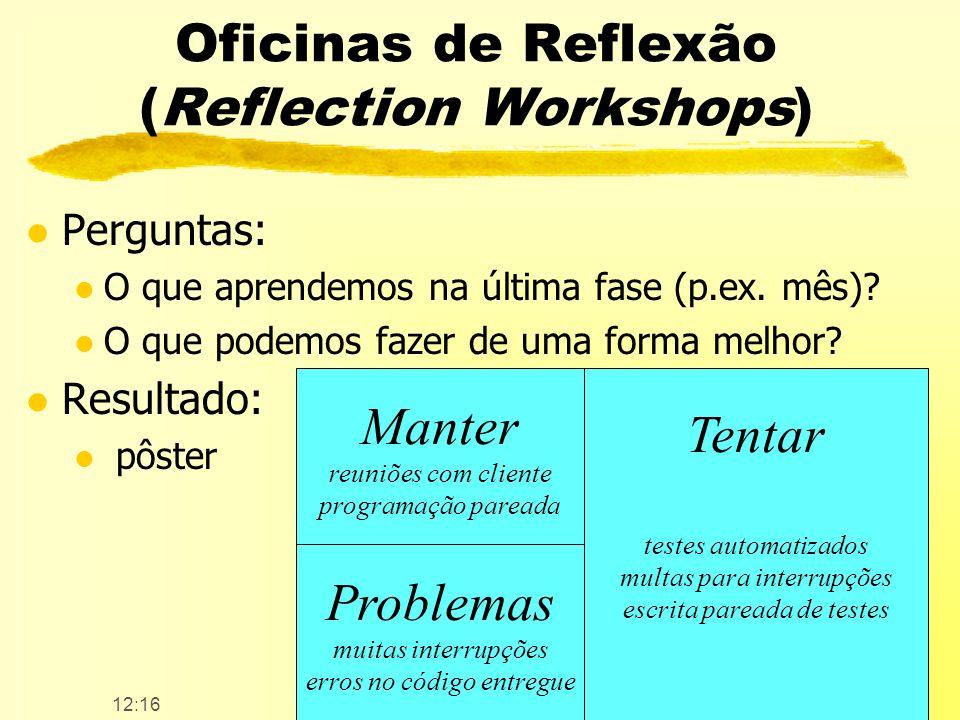 12:17 Copyleft AgilCoop15 / 55 Oficinas de Reflexão (Reflection Workshops) l Perguntas: l O que aprendemos na última fase (p.ex. mês)? l O que podemos