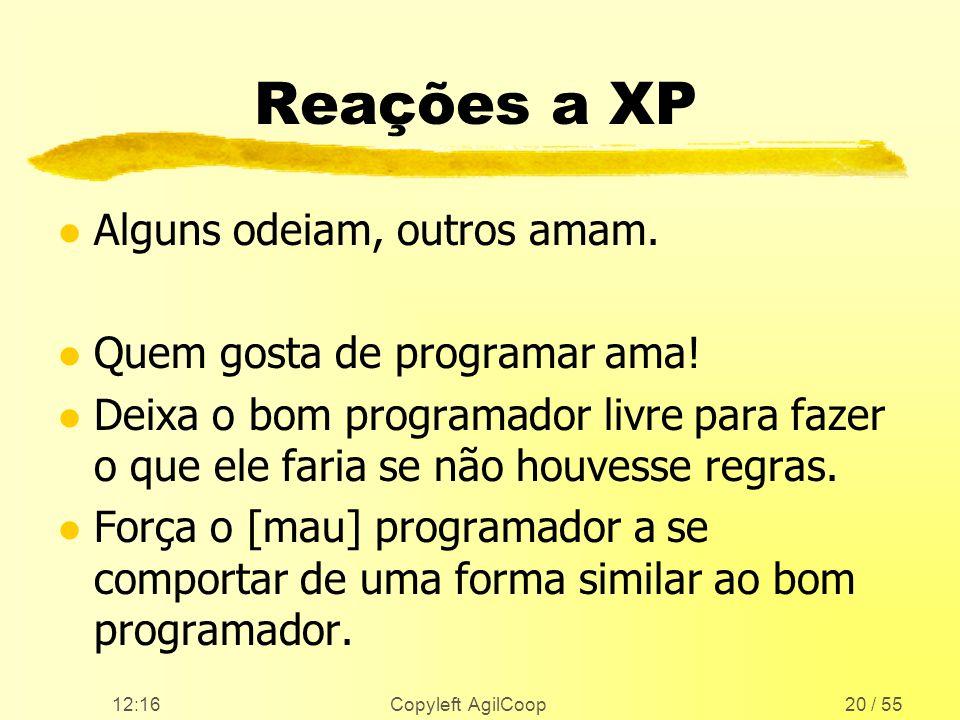 12:17 Copyleft AgilCoop20 / 55 Reações a XP l Alguns odeiam, outros amam. l Quem gosta de programar ama! l Deixa o bom programador livre para fazer o