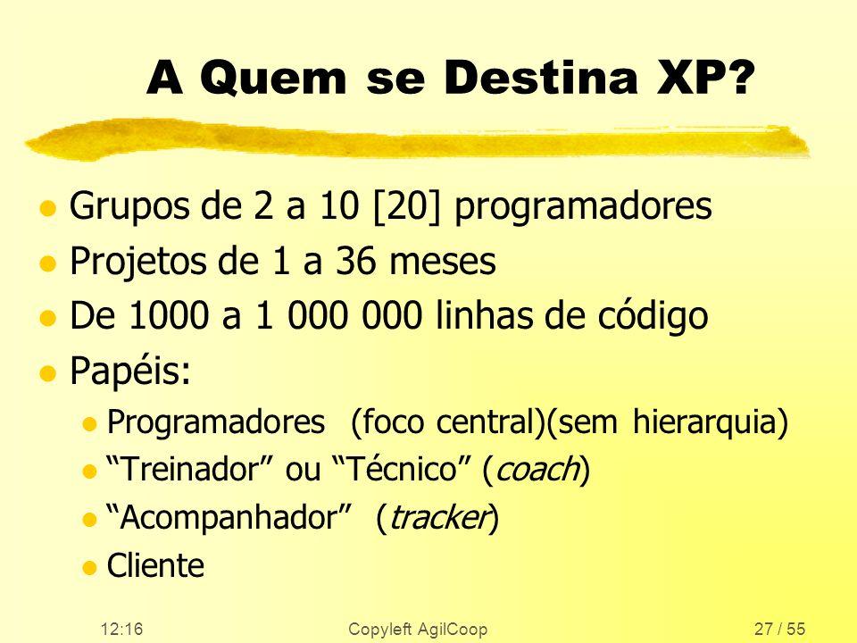 12:17 Copyleft AgilCoop27 / 55 A Quem se Destina XP? l Grupos de 2 a 10 [20] programadores l Projetos de 1 a 36 meses l De 1000 a 1 000 000 linhas de