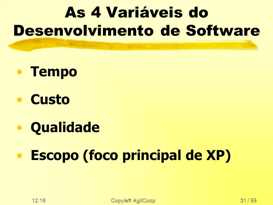 12:17 Copyleft AgilCoop31 / 55 As 4 Variáveis do Desenvolvimento de Software Tempo Custo Qualidade Escopo (foco principal de XP)