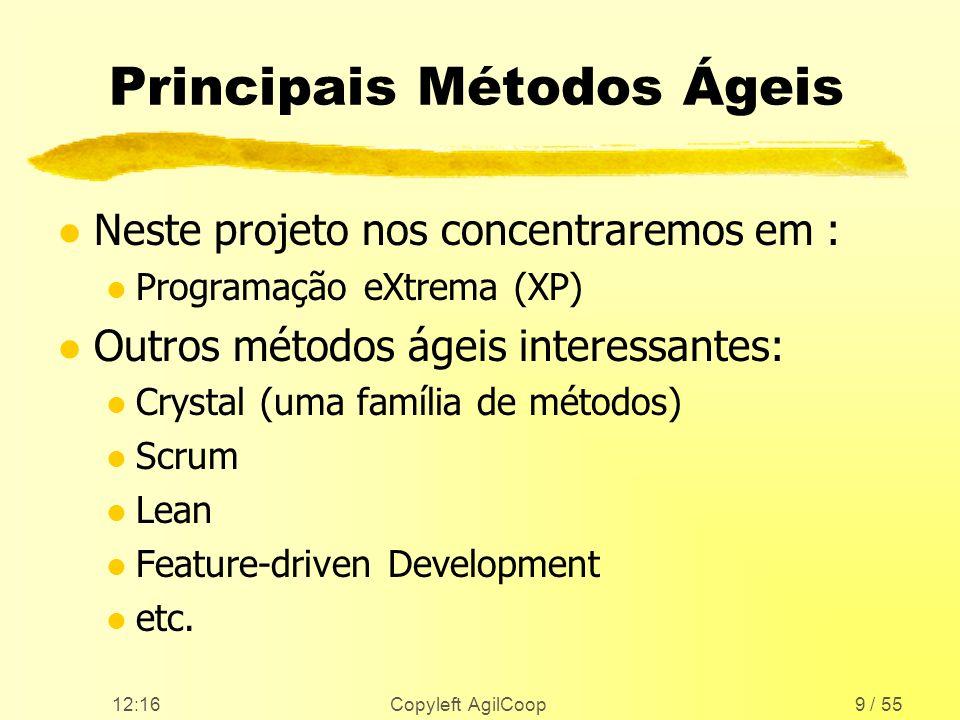 12:17 Copyleft AgilCoop9 / 55 Principais Métodos Ágeis l Neste projeto nos concentraremos em : l Programação eXtrema (XP) l Outros métodos ágeis inter