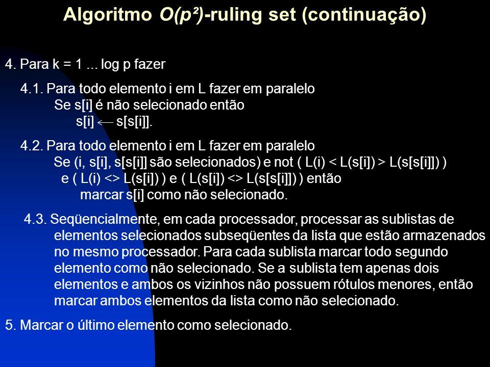4. Para k = 1... log p fazer 4.1. Para todo elemento i em L fazer em paralelo Se s[i] é não selecionado então s[i] s[s[i]]. 4.2. Para todo elemento i