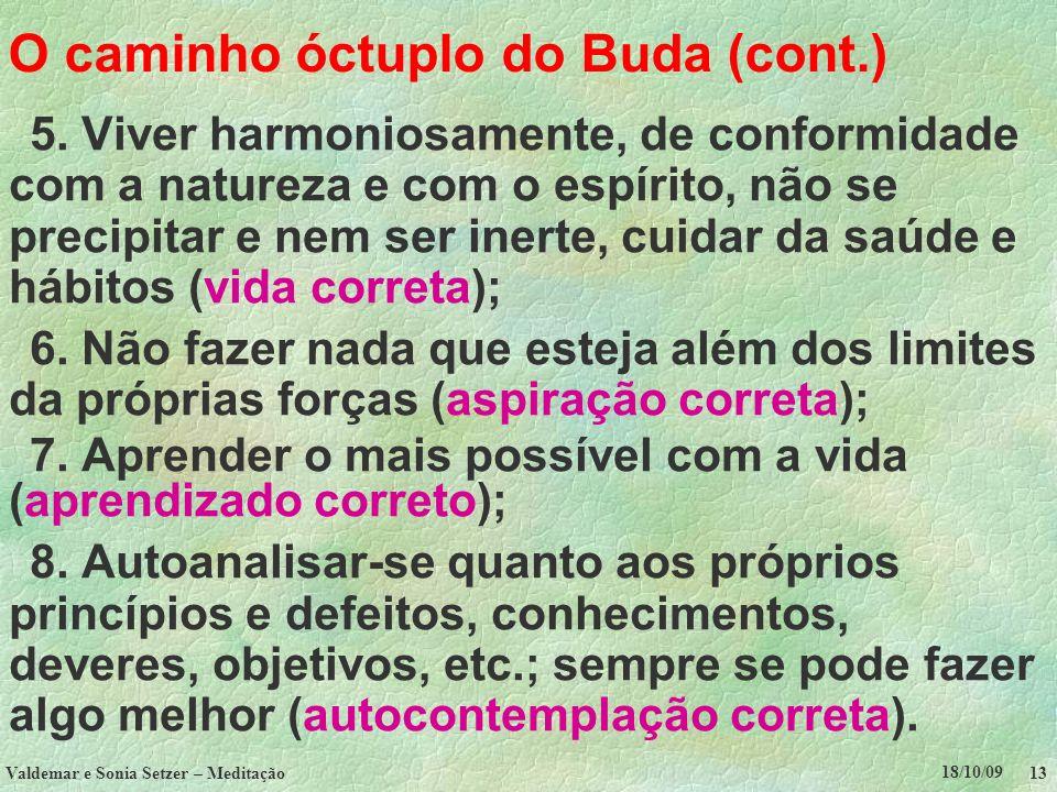 18/10/09 Valdemar e Sonia Setzer – Meditação 13 O caminho óctuplo do Buda (cont.) 5. Viver harmoniosamente, de conformidade com a natureza e com o esp