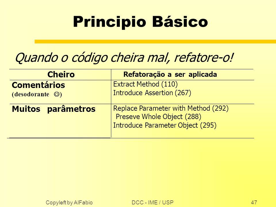 DCC - IME / USP Copyleft by AlFabio47 Principio Básico Quando o código cheira mal, refatore-o! Cheiro Refatoração aseraplicada Comentários (desodorant