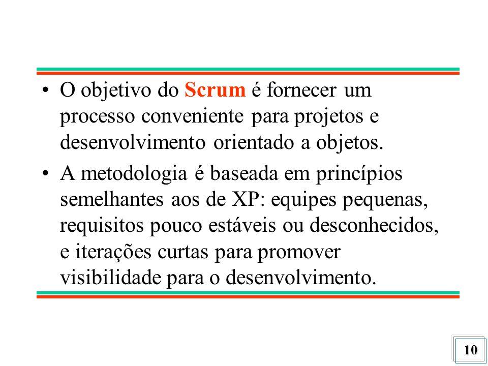 10 O objetivo do Scrum é fornecer um processo conveniente para projetos e desenvolvimento orientado a objetos. A metodologia é baseada em princípios s