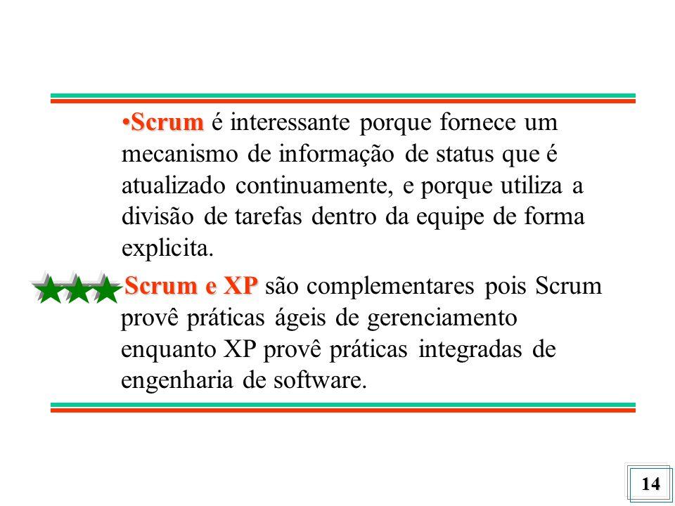 14 ScrumScrum é interessante porque fornece um mecanismo de informação de status que é atualizado continuamente, e porque utiliza a divisão de tarefas