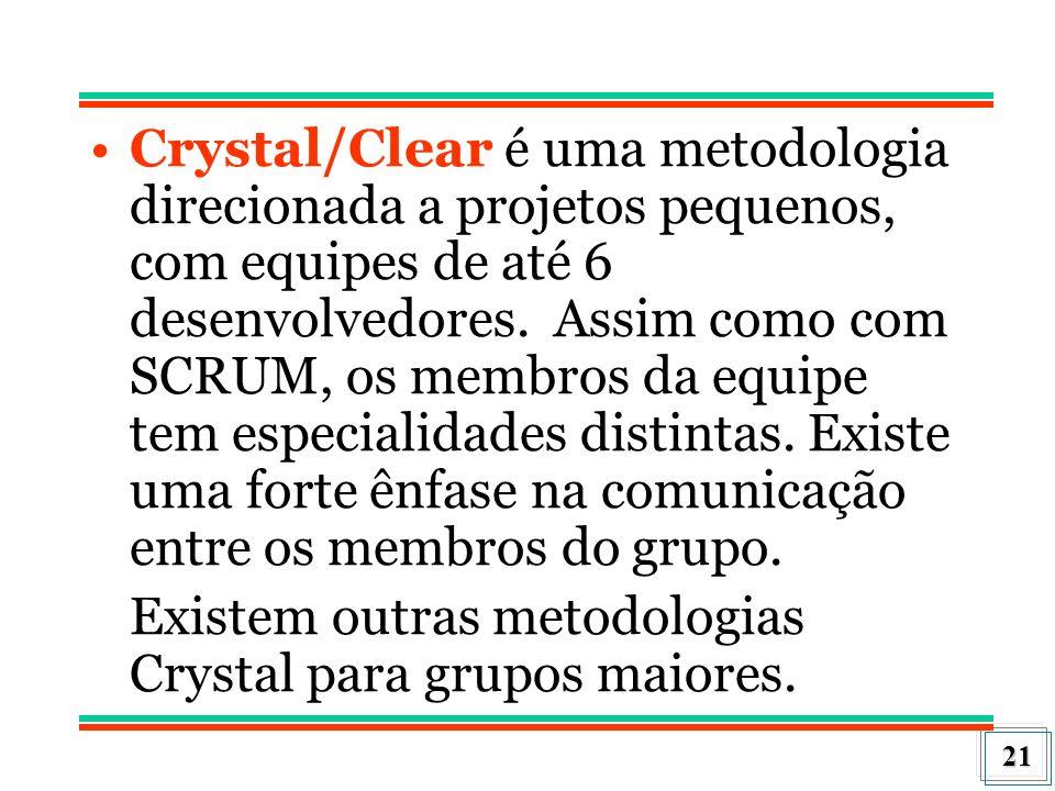 21 Crystal/Clear é uma metodologia direcionada a projetos pequenos, com equipes de até 6 desenvolvedores. Assim como com SCRUM, os membros da equipe t