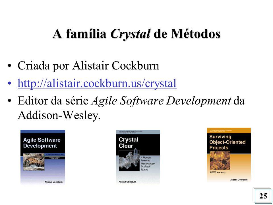 25 A família Crystal de Métodos Criada por Alistair Cockburn http://alistair.cockburn.us/crystal Editor da série Agile Software Development da Addison