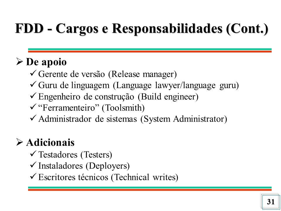 31 FDD - Cargos e Responsabilidades (Cont.) De apoio Gerente de versão (Release manager) Guru de linguagem (Language lawyer/language guru) Engenheiro