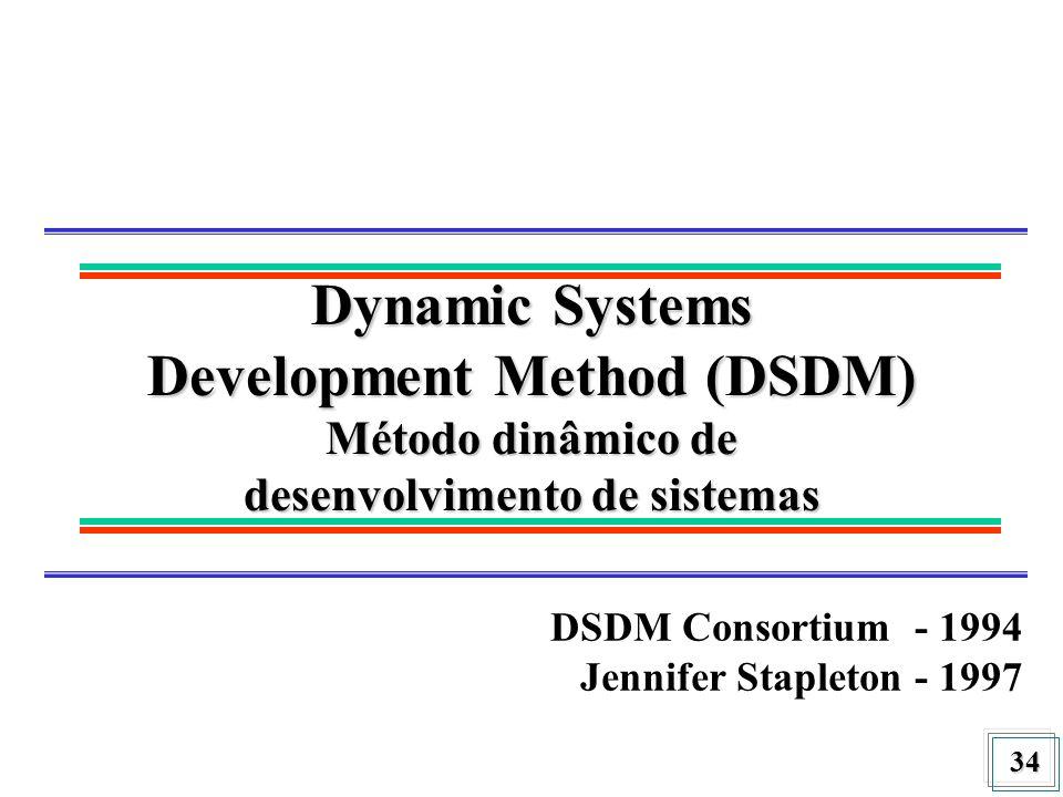 34 Dynamic Systems Development Method (DSDM) Método dinâmico de desenvolvimento de sistemas DSDM Consortium - 1994 Jennifer Stapleton - 1997