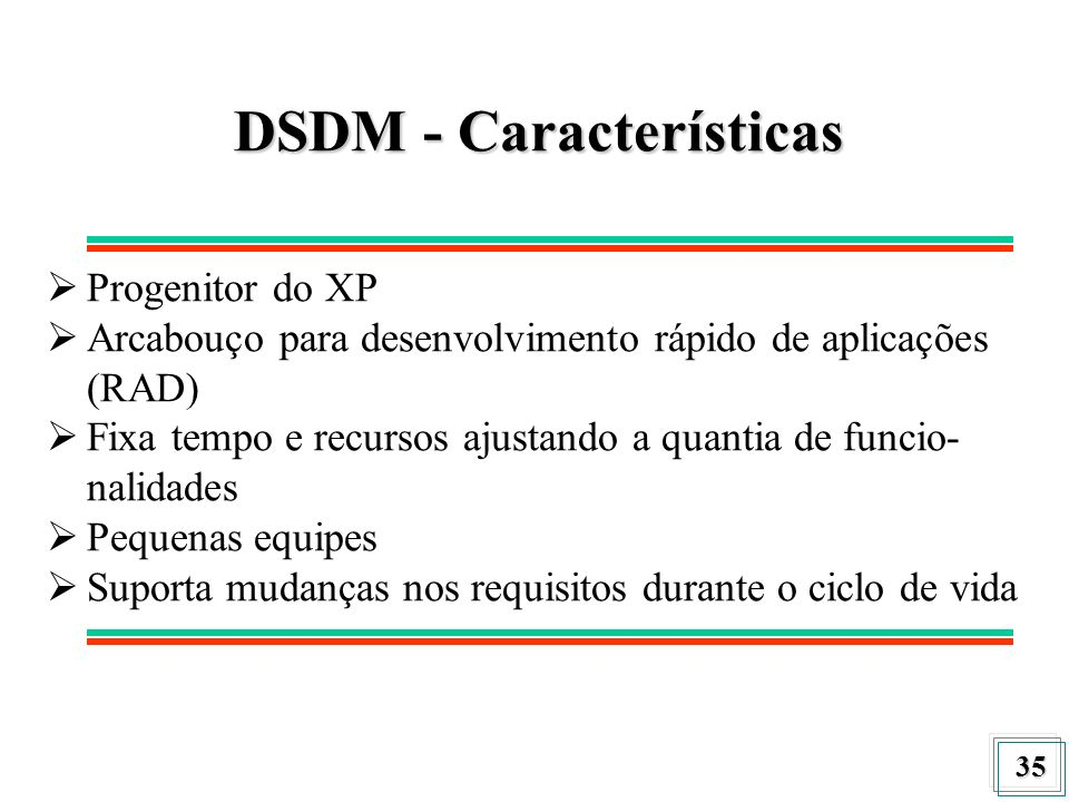 36 DSDM - Fases O DSDM consiste de 5 fases: Funcional Model Iteration Feasibility Review Study Design And Build Iteration Implementation