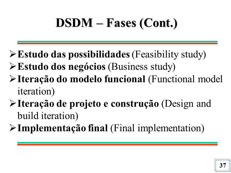 37 DSDM – Fases (Cont.) Estudo das possibilidades (Feasibility study) Estudo dos negócios (Business study) Iteração do modelo funcional (Functional mo