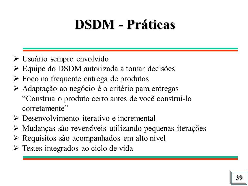 39 DSDM - Práticas Usuário sempre envolvido Equipe do DSDM autorizada a tomar decisões Foco na frequente entrega de produtos Adaptação ao negócio é o