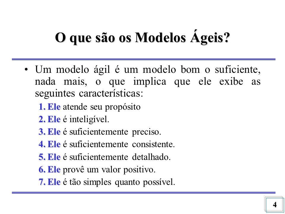 4 O que são os Modelos Ágeis? Um modelo ágil é um modelo bom o suficiente, nada mais, o que implica que ele exibe as seguintes características: 1.Ele