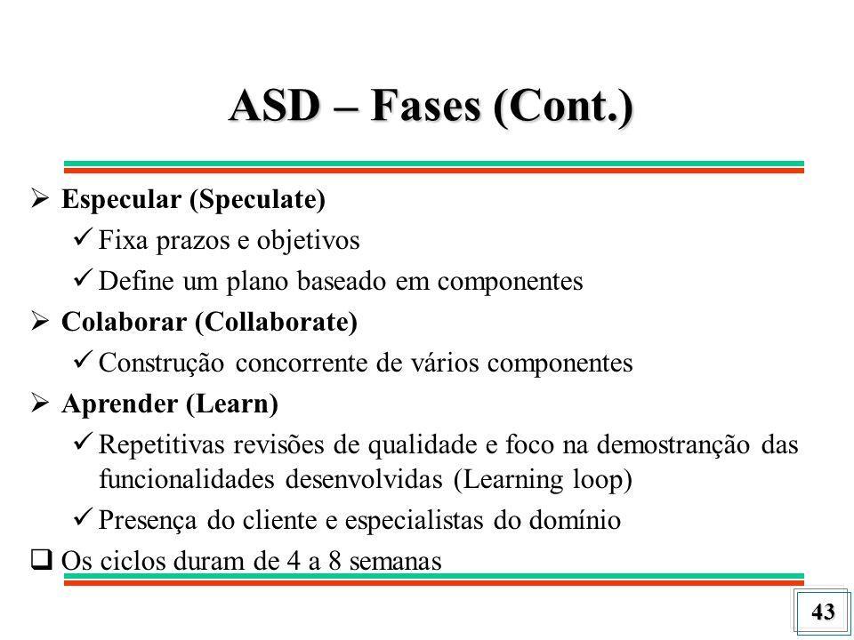 43 ASD – Fases (Cont.) Especular (Speculate) Fixa prazos e objetivos Define um plano baseado em componentes Colaborar (Collaborate) Construção concorr