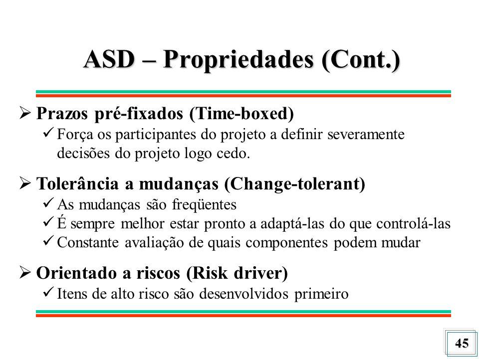 45 ASD – Propriedades (Cont.) Prazos pré-fixados (Time-boxed) Força os participantes do projeto a definir severamente decisões do projeto logo cedo. T