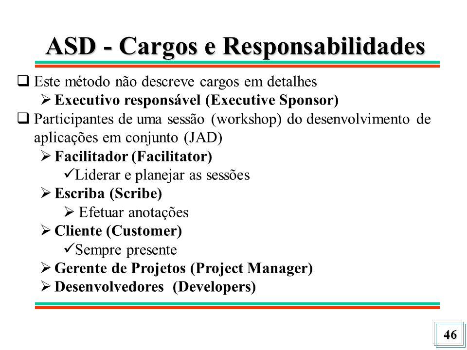 46 ASD - Cargos e Responsabilidades Este método não descreve cargos em detalhes Executivo responsável (Executive Sponsor) Participantes de uma sessão