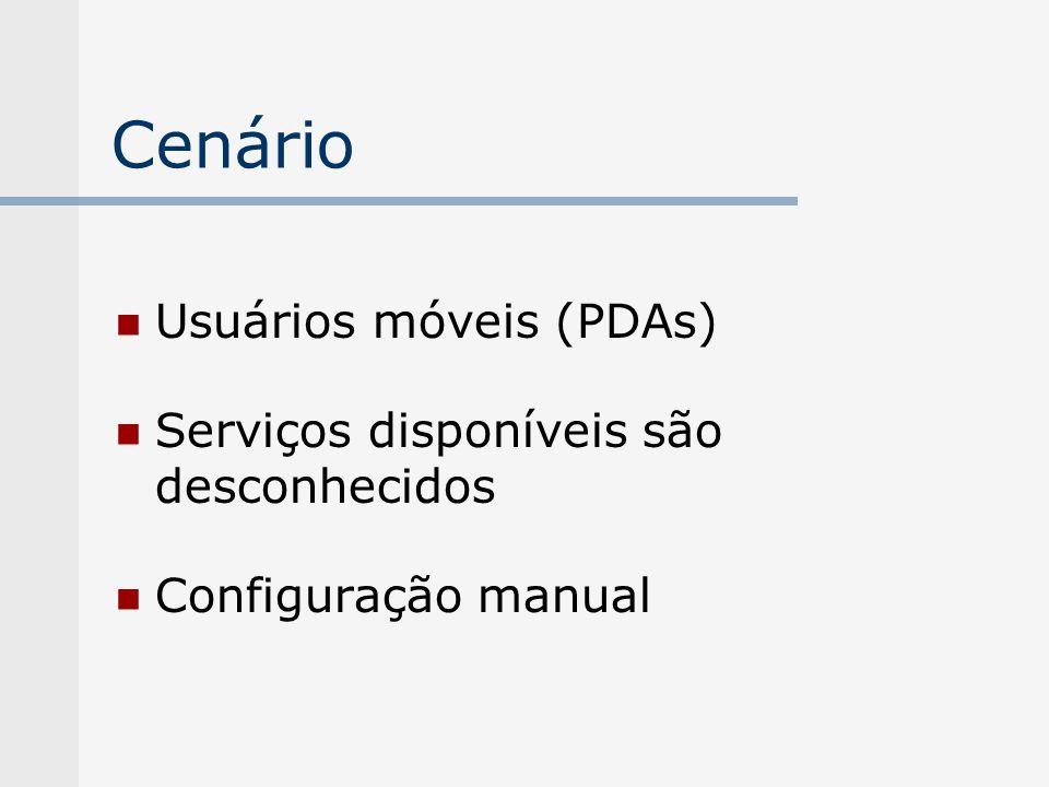 Cenário Usuários móveis (PDAs) Serviços disponíveis são desconhecidos Configuração manual