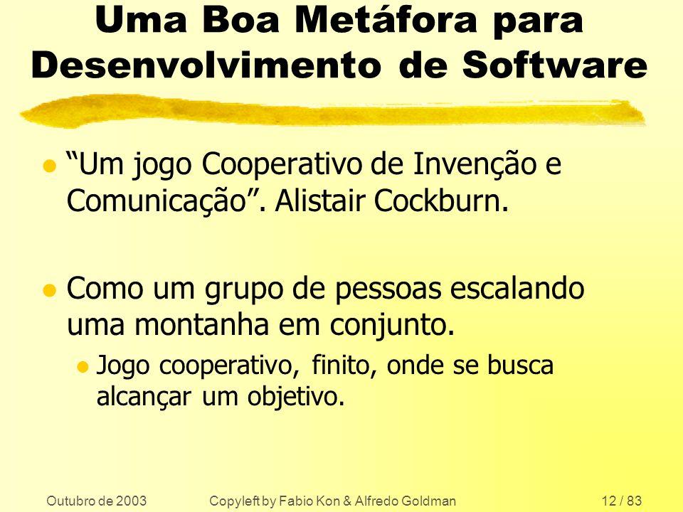 Outubro de 2003 Copyleft by Fabio Kon & Alfredo Goldman12 / 83 Uma Boa Metáfora para Desenvolvimento de Software l Um jogo Cooperativo de Invenção e C