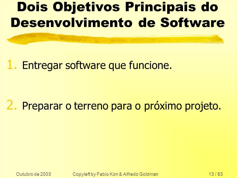 Outubro de 2003 Copyleft by Fabio Kon & Alfredo Goldman13 / 83 Dois Objetivos Principais do Desenvolvimento de Software 1. Entregar software que funci