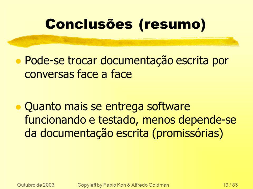 Outubro de 2003 Copyleft by Fabio Kon & Alfredo Goldman19 / 83 Conclusões (resumo) l Pode-se trocar documentação escrita por conversas face a face l Q