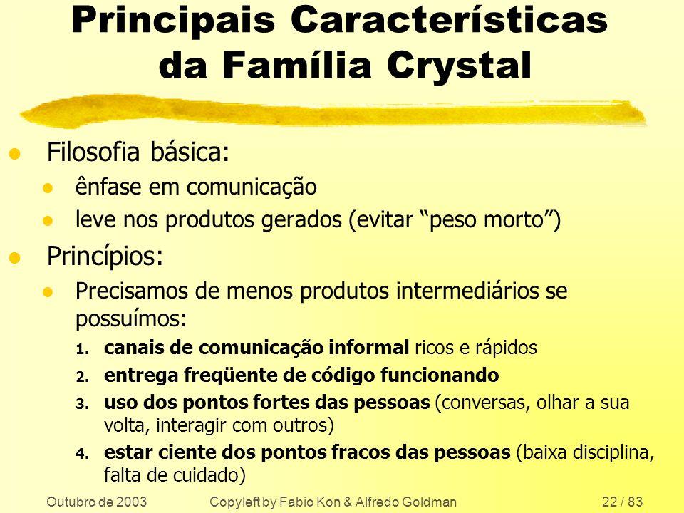 Outubro de 2003 Copyleft by Fabio Kon & Alfredo Goldman22 / 83 Principais Características da Família Crystal l Filosofia básica: l ênfase em comunicaç