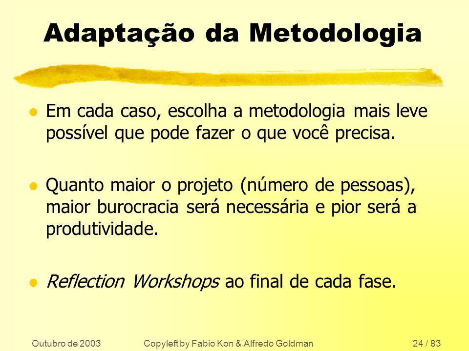 Outubro de 2003 Copyleft by Fabio Kon & Alfredo Goldman24 / 83 Adaptação da Metodologia l Em cada caso, escolha a metodologia mais leve possível que p