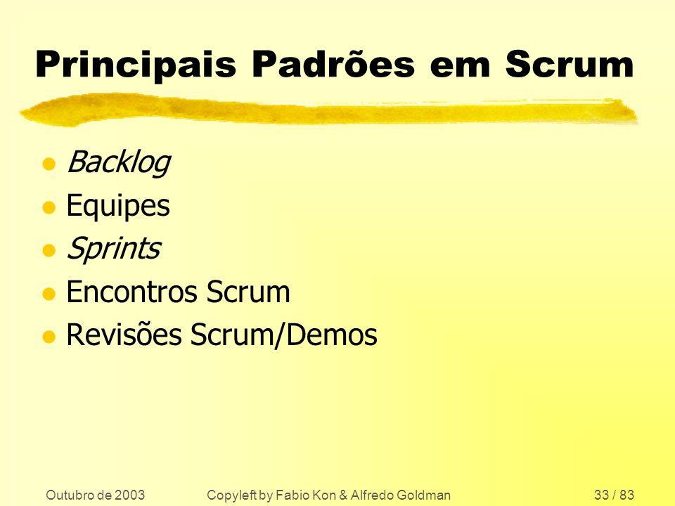 Outubro de 2003 Copyleft by Fabio Kon & Alfredo Goldman33 / 83 Principais Padrões em Scrum l Backlog l Equipes l Sprints l Encontros Scrum l Revisões
