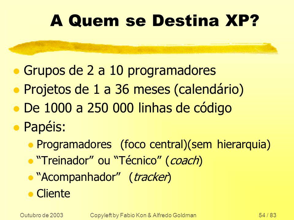 Outubro de 2003 Copyleft by Fabio Kon & Alfredo Goldman54 / 83 A Quem se Destina XP? l Grupos de 2 a 10 programadores l Projetos de 1 a 36 meses (cale