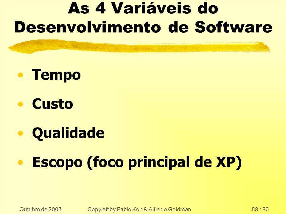 Outubro de 2003 Copyleft by Fabio Kon & Alfredo Goldman58 / 83 As 4 Variáveis do Desenvolvimento de Software Tempo Custo Qualidade Escopo (foco princi