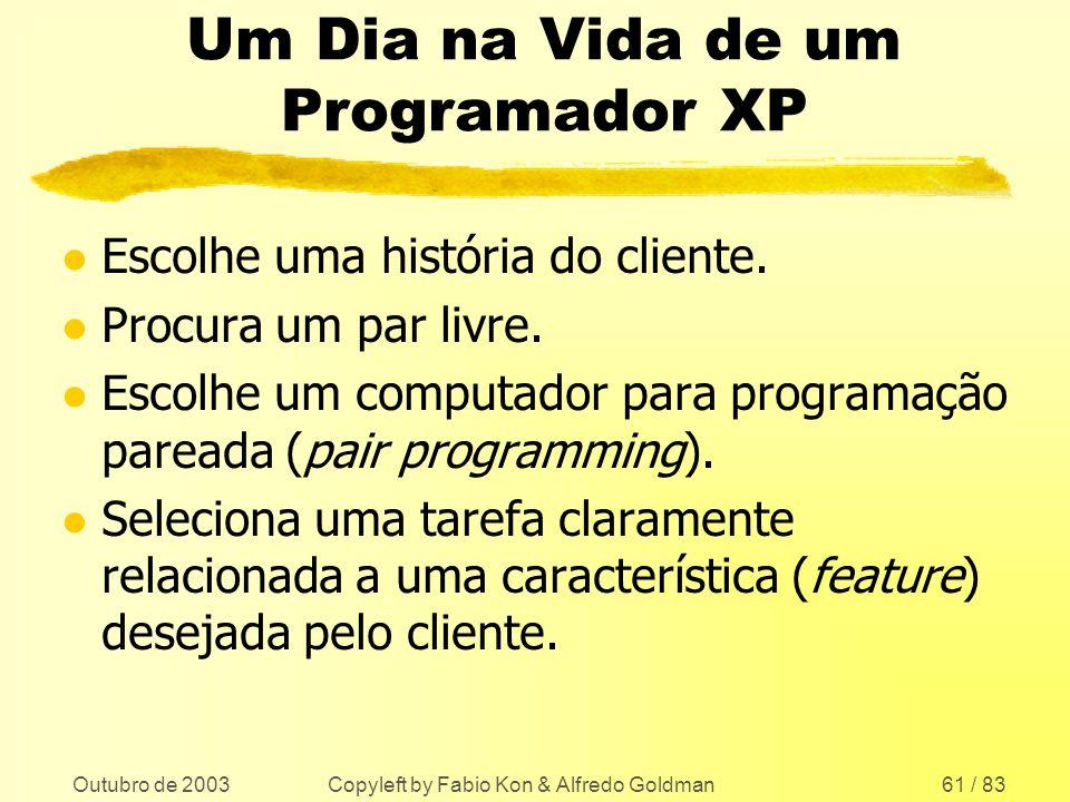 Outubro de 2003 Copyleft by Fabio Kon & Alfredo Goldman61 / 83 Um Dia na Vida de um Programador XP l Escolhe uma história do cliente. l Procura um par