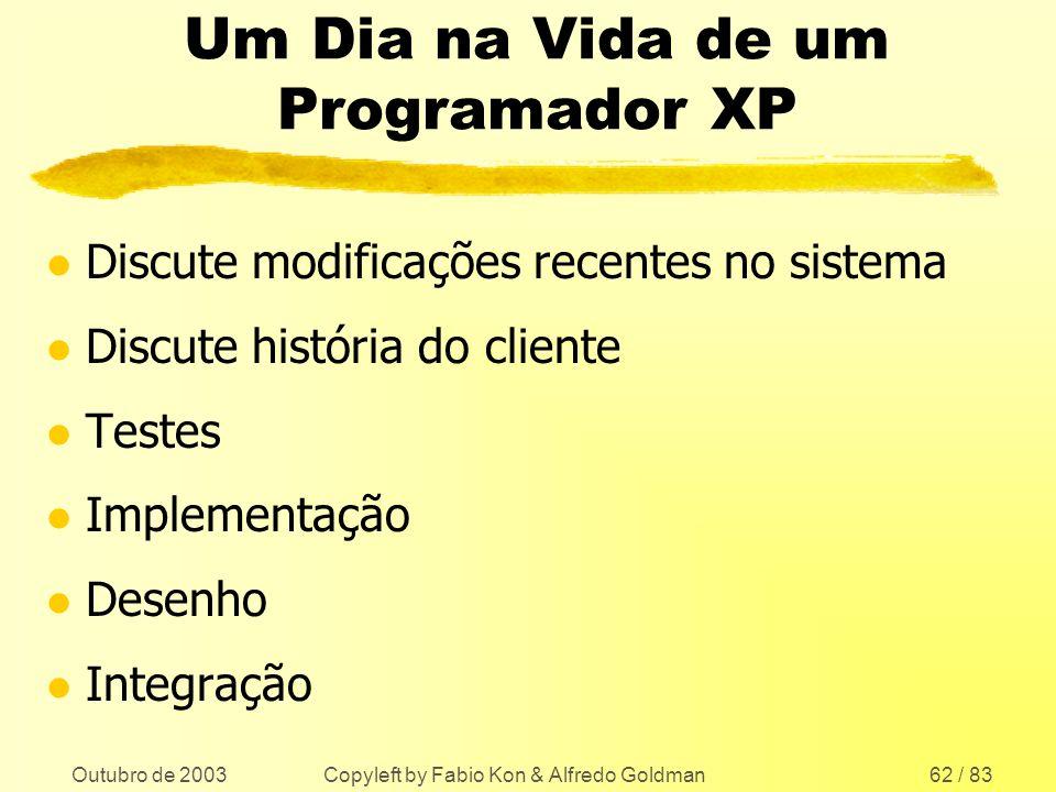 Outubro de 2003 Copyleft by Fabio Kon & Alfredo Goldman62 / 83 Um Dia na Vida de um Programador XP l Discute modificações recentes no sistema l Discut
