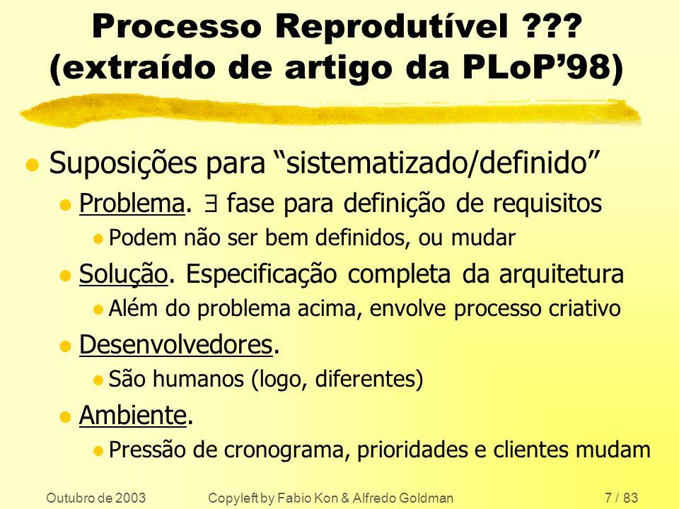Outubro de 2003 Copyleft by Fabio Kon & Alfredo Goldman7 / 83 Processo Reprodutível ??? (extraído de artigo da PLoP98) l Suposições para sistematizado