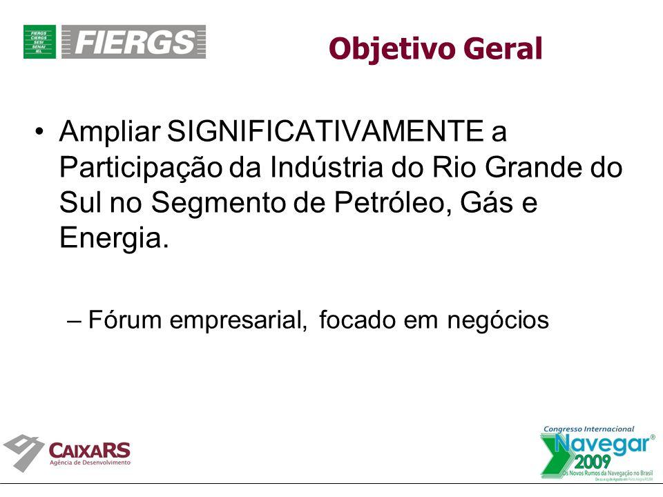 Objetivo Geral Ampliar SIGNIFICATIVAMENTE a Participação da Indústria do Rio Grande do Sul no Segmento de Petróleo, Gás e Energia.
