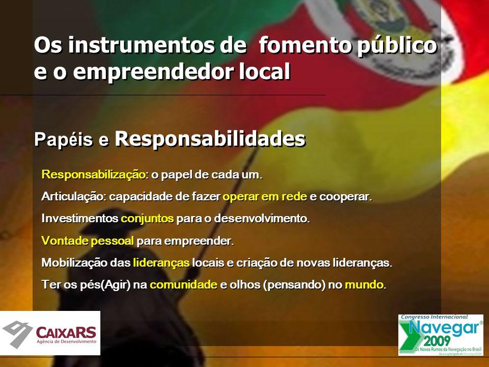 Os instrumentos de fomento público e o empreendedor local Pap é is e Responsabilidades Responsabilização: o papel de cada um.