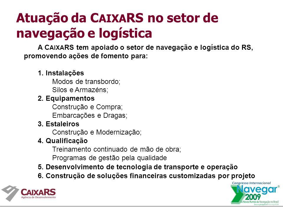 A C AIXA RS tem apoiado o setor de navegação e logística do RS, promovendo ações de fomento para: 1.