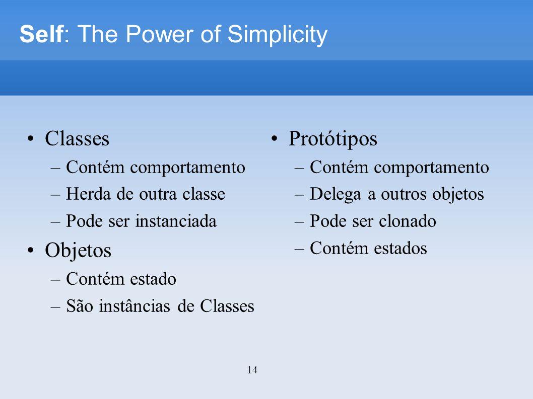 14 Self: The Power of Simplicity Classes –Contém comportamento –Herda de outra classe –Pode ser instanciada Objetos –Contém estado –São instâncias de Classes Protótipos –Contém comportamento –Delega a outros objetos –Pode ser clonado –Contém estados