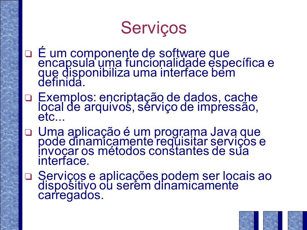 Serviços É um componente de software que encapsula uma funcionalidade específica e que disponibiliza uma interface bem definida. Exemplos: encriptação