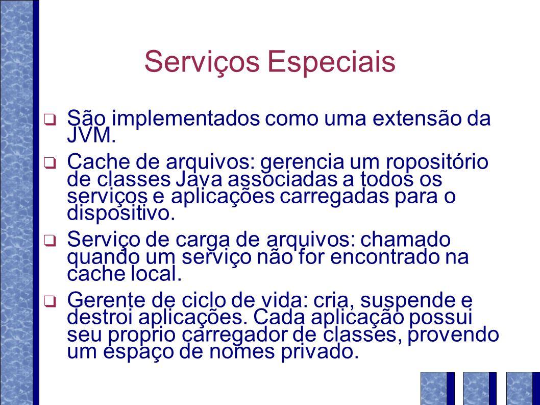 Serviços Especiais São implementados como uma extensão da JVM. Cache de arquivos: gerencia um ropositório de classes Java associadas a todos os serviç